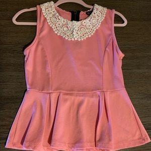 Pink Peplum Top w/ Lace Peter Pan Collar